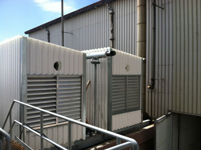 Corrosive resistant fiberglass panel mechanical containment shed