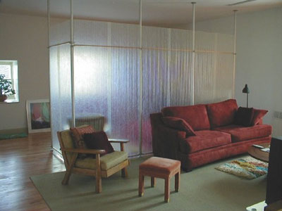 Interior translucent wall divider created with fiberglass wall panels