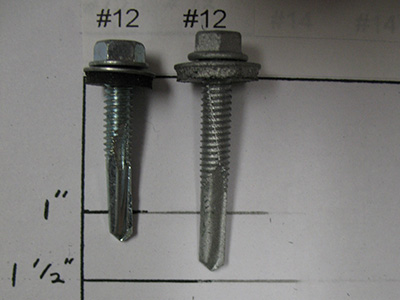 #5 point TEK screws for drilling into metal