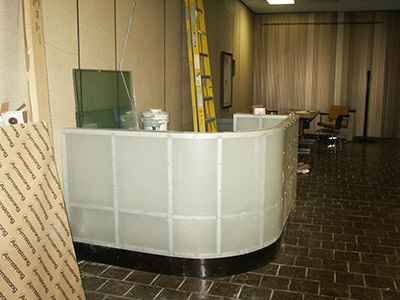 Decorative curved counter with translucnet flat fiberglass